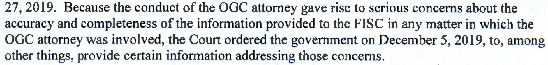 IN RE ACCURACY CONCERNS REGARDING FBI MATTERS SUBMITTED TO THE FISC Docket No. Misc. 19-02